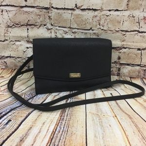 Kate Spade Black Crossbody Leather Saffiano Wallet
